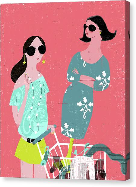 Indoors Canvas Print - Fashion Woman Holding Trolley by Luciano Lozano