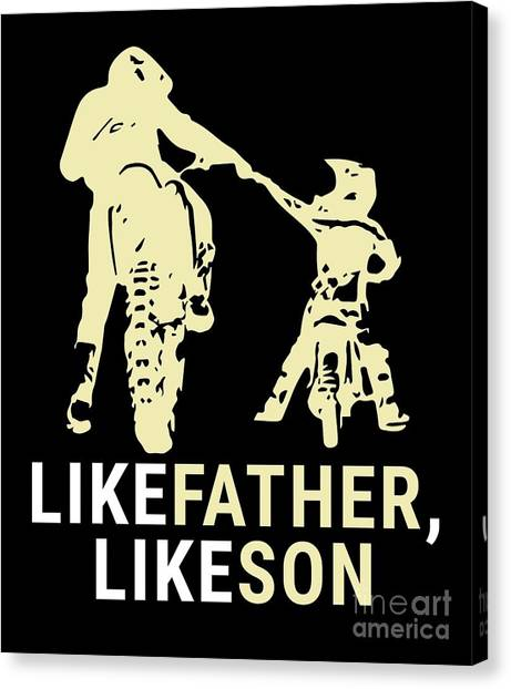 Canvas Print - Dirt Biker Riders Motorcycle Bikers Fmx Motocross Father And Son Racers Gifts by Thomas Larch