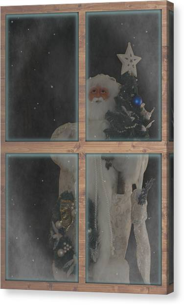 Father Christmas In Window Canvas Print