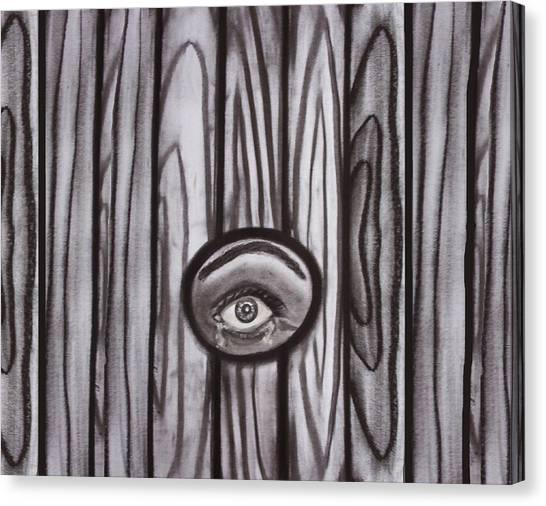Fear - Eye Through Fence Canvas Print