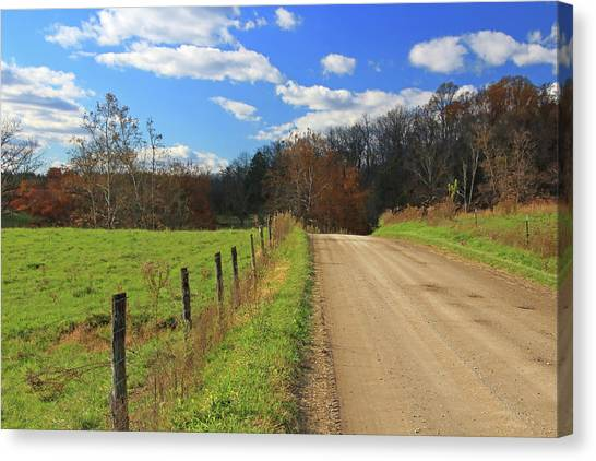 Canvas Print featuring the photograph Fence And Country Road by Angela Murdock