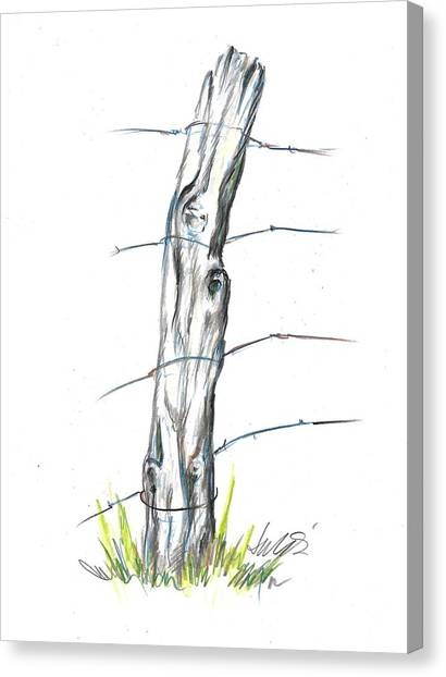 Fence Post Colored Pencil Sketch  Canvas Print
