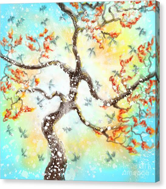 Feng Shui Your Life - 100 Birds Canvas Print by Remy Francis