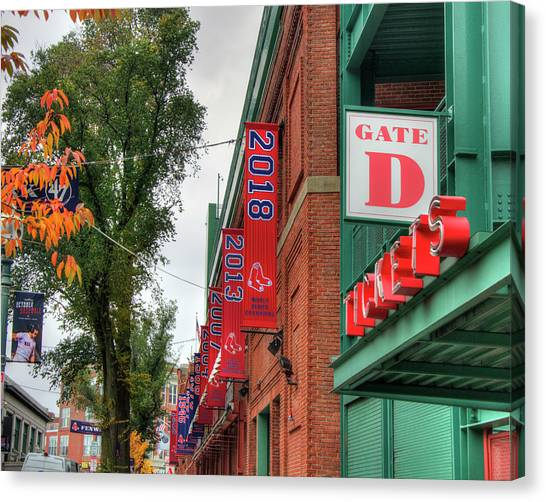Canvas Print featuring the photograph Fenway Park 2018 Championship Banner by Joann Vitali