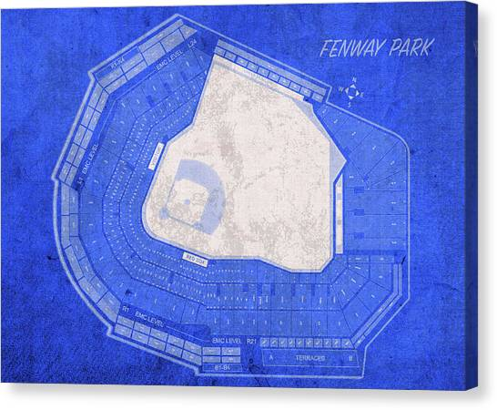 Fenway Canvas Print - Fenway Park Boston Seating Chart Vintage Patent Blueprint by Design Turnpike
