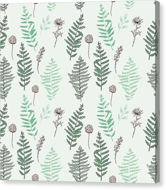 Cherry Blossom Canvas Print - Fern Seamless Pattern. Botanical by Esk1m0
