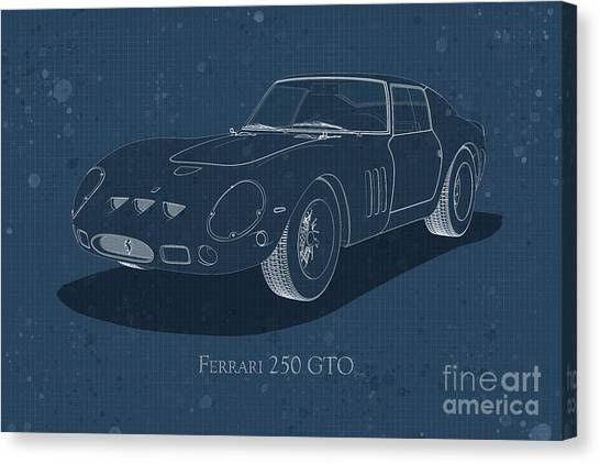 Ferrari 250 Gto - Front View - Stained Blueprint Canvas Print