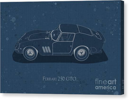 Ferrari 250 Gto - Side View - Stained Blueprint Canvas Print