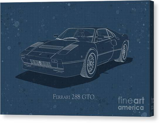 Ferrari 288 Gto - Front View - Stained Blueprint Canvas Print