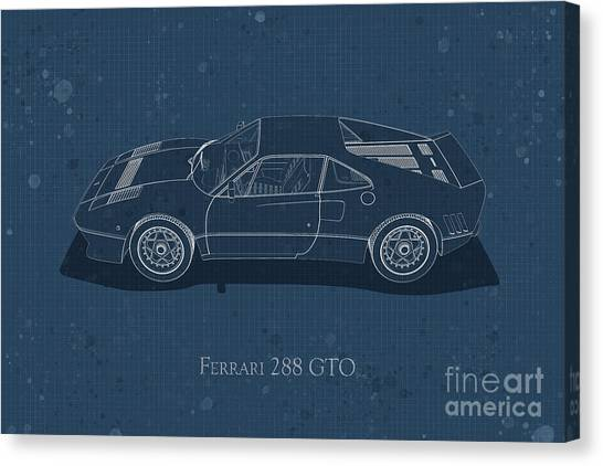 Ferrari 288 Gto - Side View - Stained Blueprint Canvas Print