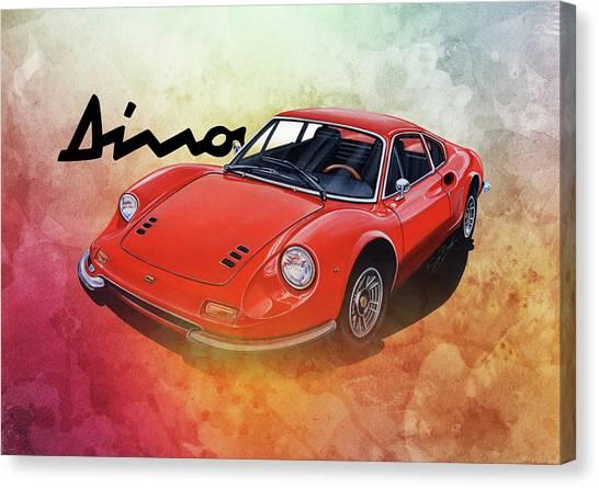1972 Canvas Print - Ferrari Dino 246 by Simon Read