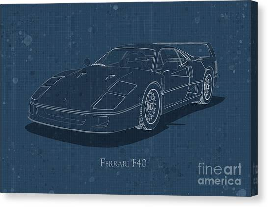 Ferrari F40 - Front View - Stained Blueprint Canvas Print