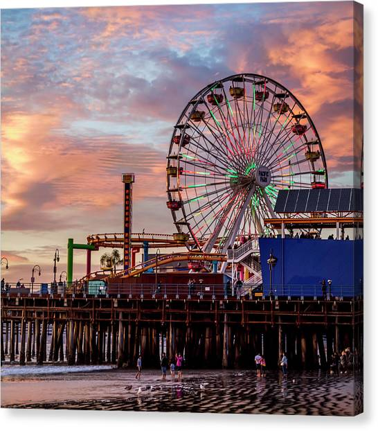 Ferris Wheel On The Pier - Square Canvas Print