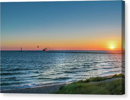 Ferry Going Into Sunset Canvas Print