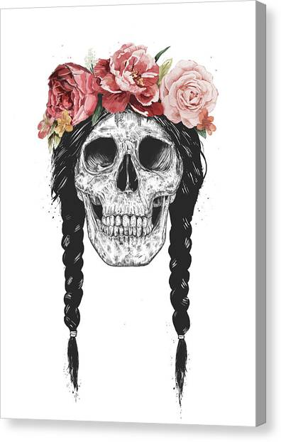 Spring Canvas Print - Festival Skull by Balazs Solti