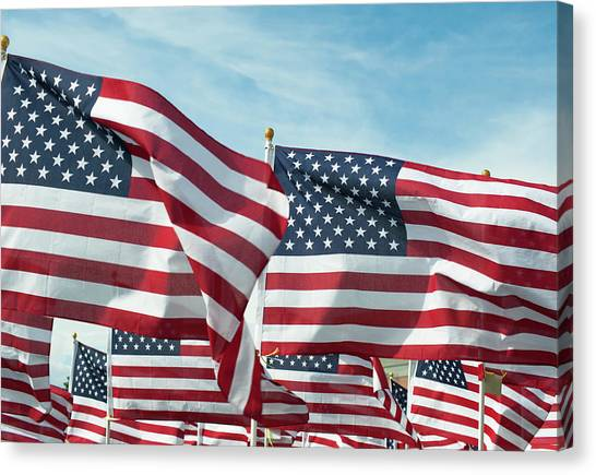 d7a2f2d97fe Utah Flag Canvas Print - Field Full Of Waving American Flags by Chapin31