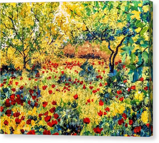 Canvas Print featuring the painting Field Of Poppies by Ray Khalife