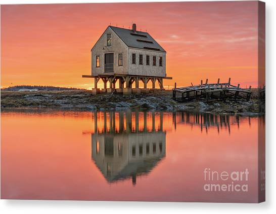 Fiery Skies At Cape Porpoise Canvas Print