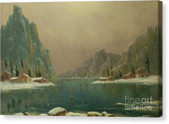 Figure Skating Canvas Print - Figures Ice Skating On A Lake by Nils Hans Christiansen