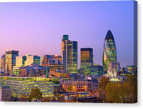 Financial District Buildings In The Canvas Print