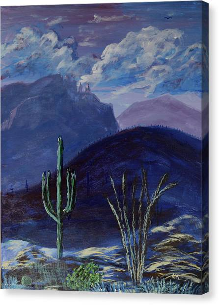 Canvas Print featuring the painting Finger Rock Evening, Tucson by Chance Kafka