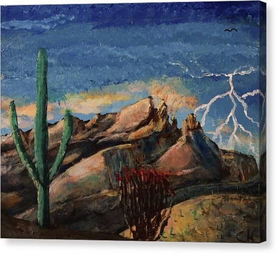 Finger Rock Lightning  Canvas Print