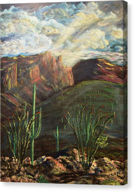Canvas Print featuring the painting Finger Rock Morning by Chance Kafka