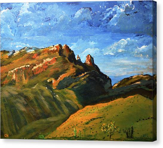 Canvas Print featuring the painting Finger Rock Splendor  by Chance Kafka