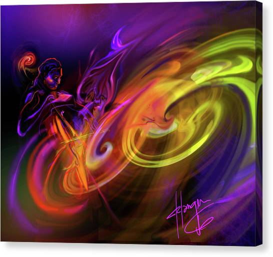Cellist In Space Canvas Print