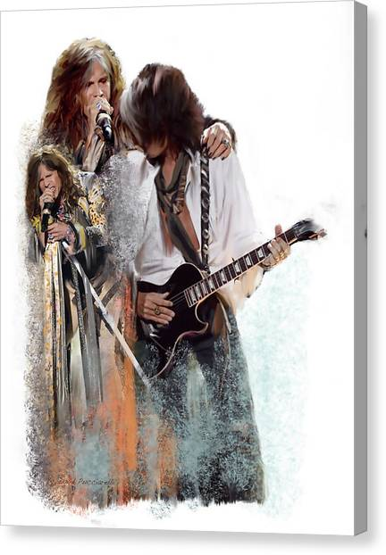 Aerosmith Canvas Print -  Fire And Lightning Steven Tyler And Joe Perry Aerosmith by Iconic Images Art Gallery David Pucciarelli