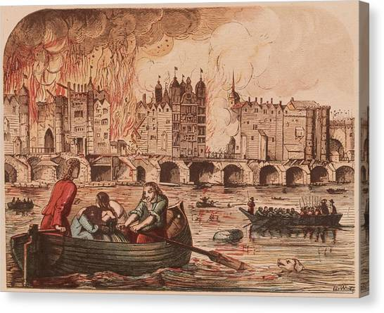 Fire Of London Canvas Print by Hulton Archive