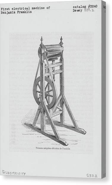 First Electrical Machine Of Benjamin Canvas Print by Kean Collection