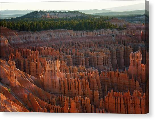 Canvas Print featuring the photograph First Light On The Hoodoo Inspiration Point Bryce Canyon National Park by Nathan Bush