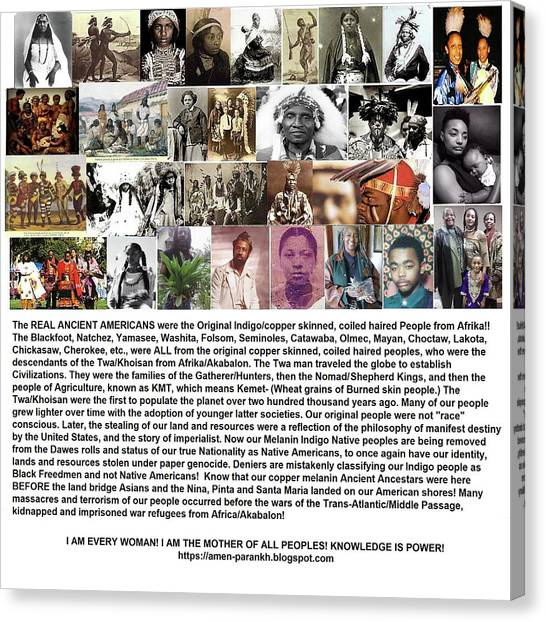 First Native Americans Were Indigo Twa Black Afrikans Canvas Print