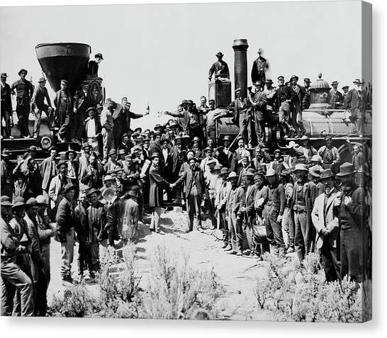 First Opening Of The Transcontinental Railroad - 1869 Canvas Print