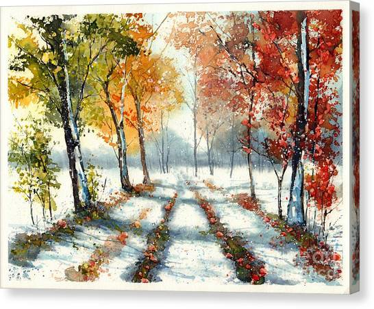 Countryside Canvas Print - First Snow by Suzann Sines
