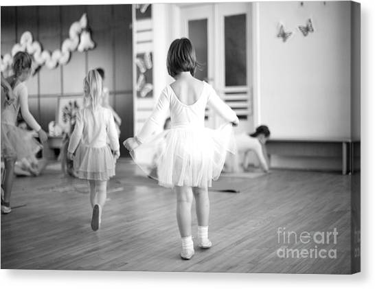 Indoors Canvas Print - First Steps Of Small Ballerinas by Anna Jurkovska