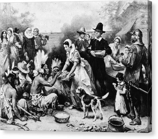 First Thanksgiving Dinner Illustration Canvas Print by American Stock Archive