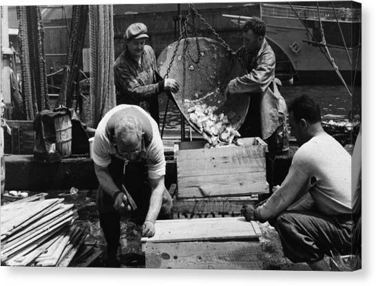 Fish Market Canvas Print - Fish Packing by Gordon Parks