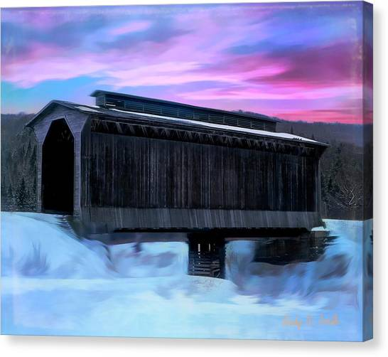 Fisher Raiilroad Covered Bridge Wolcott Vermont. Canvas Print
