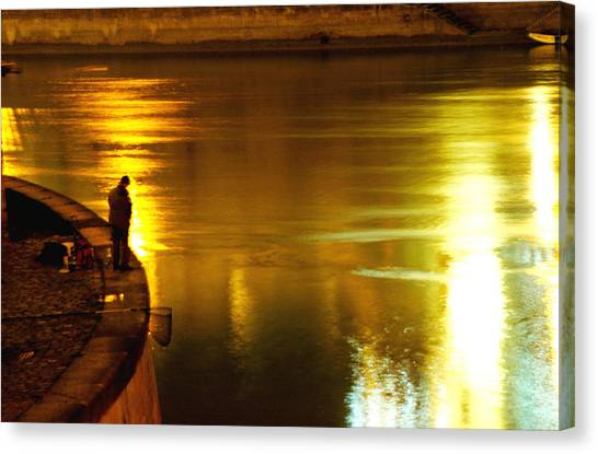 Fisherman At The Danube Canal Canvas Print
