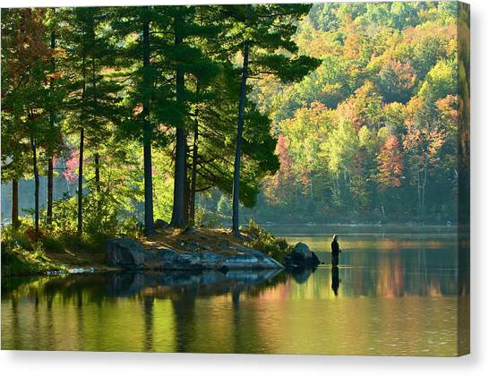 Gatineau Park Canvas Print - Fisherman In Early Morning, Lac Taylor by Glenn Davy