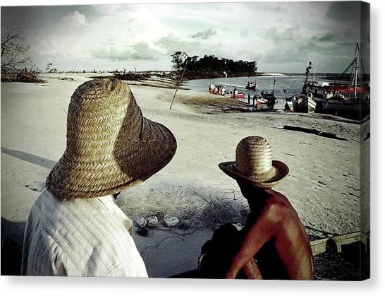 Fishermen In Ajuruteua, Brazil Canvas Print