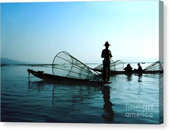 Canoe Canvas Print - Fishermen On Water by Elena Yakusheva