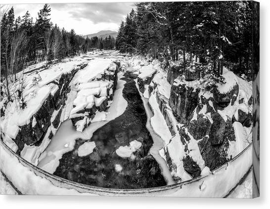 Canvas Print featuring the photograph Fisheye View, Rocky Gorge Nh by Michael Hubley