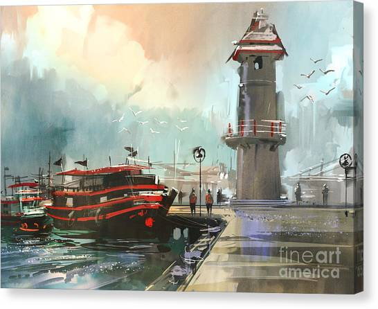Sea Life Canvas Print - Fishing Boat In Harbor,digital by Tithi Luadthong