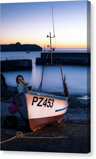 Fishing Boat In Mullion Cove Canvas Print