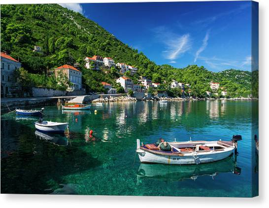 Bishop Hill Canvas Print - Fishing Boats And Blue Waters by Russ Bishop