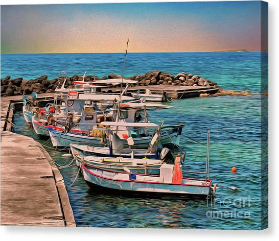 Canvas Print featuring the photograph Fishing Boats Corfu by Leigh Kemp