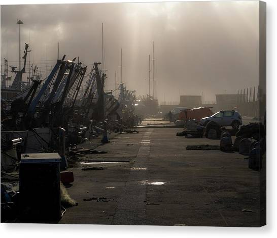 Fishing Boats Moored In The Harbor Canvas Print